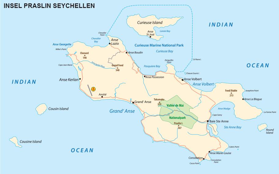 Praslin Karte