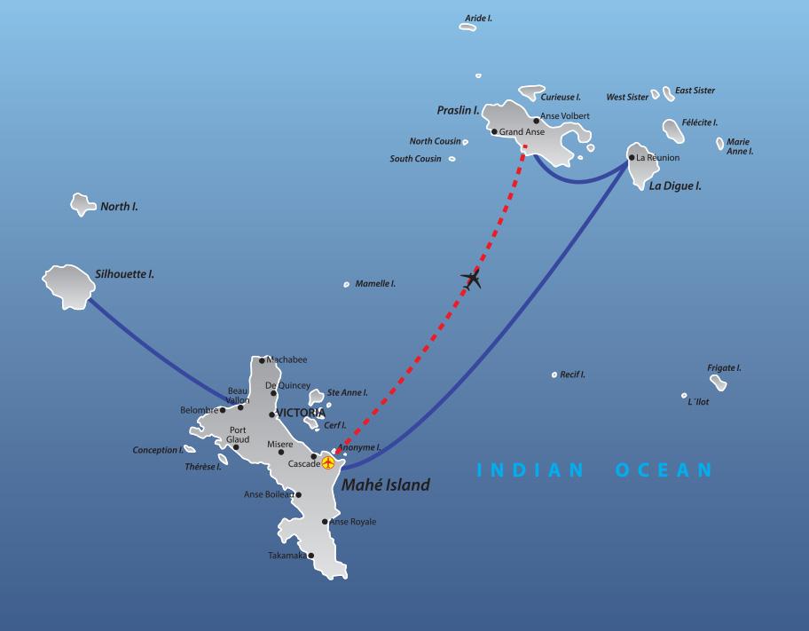Seychellen inselhopping Map