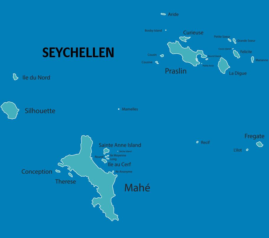 Seychellen Karte mit Inseln